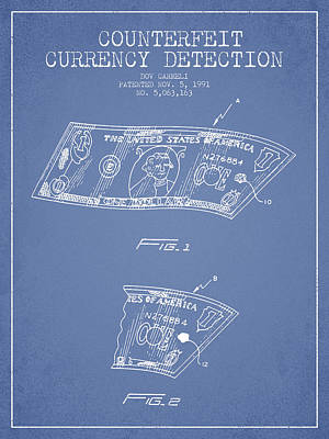 Counterfeit Currency Detection Patent From 1991 - Light Blue Print by Aged Pixel