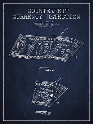 Counterfeit Currency Detection Patent From 1991 - Navy Blue Print by Aged Pixel
