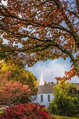 Country Baptist Church Print by Debra and Dave Vanderlaan