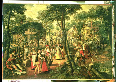 Horse And Cart Photograph - Country Celebration, 1563 Oil On Canvas by Joachim Beuckelaer or Bueckelaer