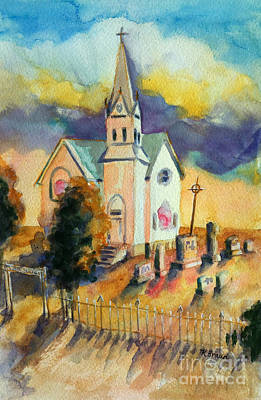 Cemetary Painting - Country Church At Sunset by Kathy Braud