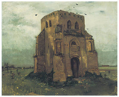 Cemetary Painting - Country Churchyard And Old Church Tower by Vincent Van Gogh