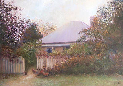 Garden Scene Painting - Country Cottage Autumn by Jan Matson