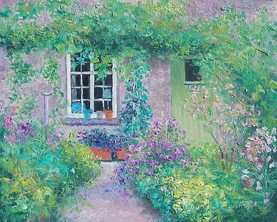 Garden Scene Painting - Country Cottage by Jan Matson