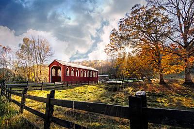 Country Covered Bridge Print by Debra and Dave Vanderlaan