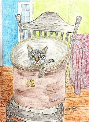 Country Crock Cat Print by Kathy Marrs Chandler