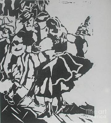 Lino Mixed Media - Country Dance by PainterArtist FIN