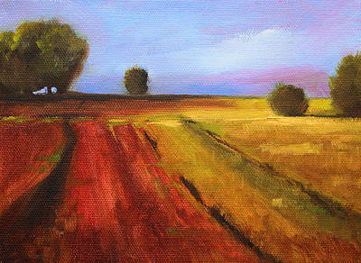 Prairie Sky Painting - Country Fields Landscape by Nancy Merkle