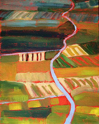 Aerial Perspective Painting - Country Fields by Nancy Merkle