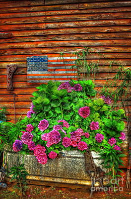 Lif Photograph - Country Flowers And Flag by Reid Callaway
