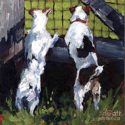 Small Dogs Painting - Country Gate by Molly Poole