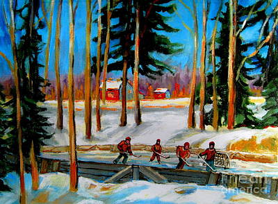 Kids Playing Hockey Painting - Country Hockey Rink by Carole Spandau