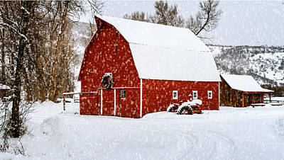 Country Holiday Barn Original by Teri Virbickis