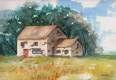 Country Home With The Red Door Print by Rebecca Davis