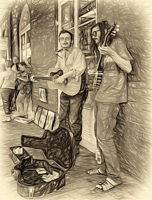 Street Photograph - Country In The French Quarter - Paint Sepia by Steve Harrington