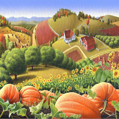 Country Landscape - Appalachian Pumpkin Patch - Country Farm Life - Square Format Print by Walt Curlee
