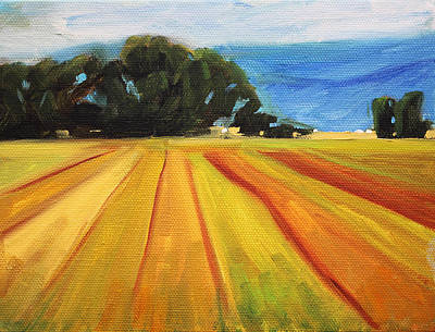 Farm Fields Painting - Country Landscape by Nancy Merkle