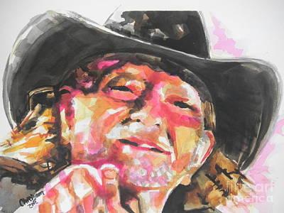 Country Music Artist...willie Nelson Print by Chrisann Ellis