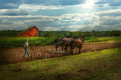 Amish Farmer Photograph - Country - Ringoes Nj - Preparing For Crops by Mike Savad