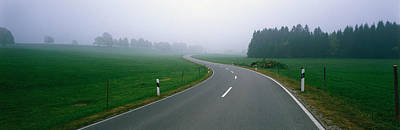 Curving Road Photograph - Country Road With Fog, Near Vies by Panoramic Images