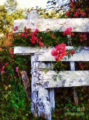 Country Rose On A Fence 2 Print by Janine Riley