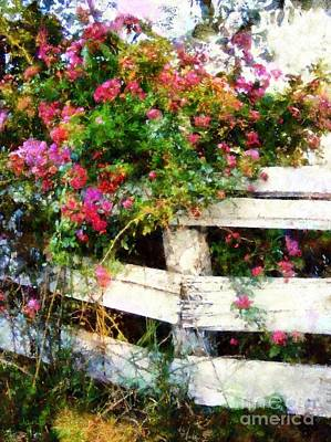 Country Rose On A Fence 3 Print by Janine Riley