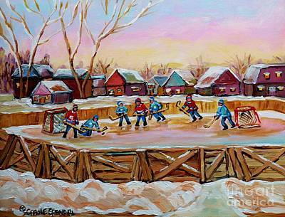Quebec Painting - Country Scene Painting Outdoor Hockey Rink Canadian Landscape Winter Art Carole Spandau by Carole Spandau