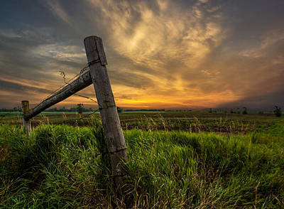 Fence Posts Photograph - Country Sunrise by Aaron J Groen