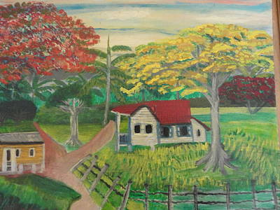 Flamboyan Tree Painting - Countryside by Nelida Alicea