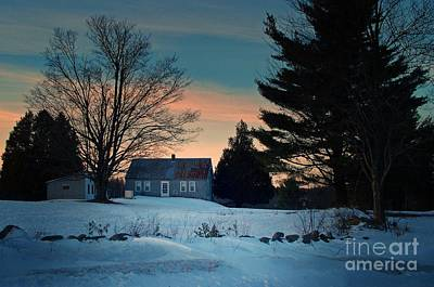 Maine Farmhouse Photograph - Countryside Winter Evening by Joy Nichols