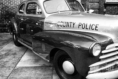 County Police In Black And White Print by John Rizzuto