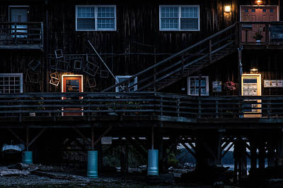 Coupeville Wharf Storefronts At Night Print by Eric Schoch