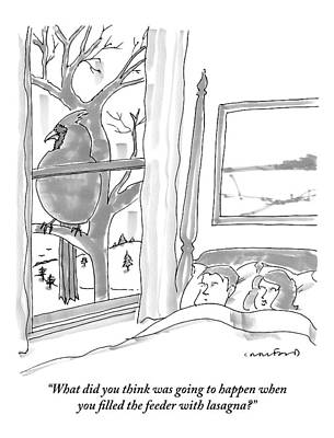 Nature An Bird Drawing - Couple In Bed by Michael Crawford