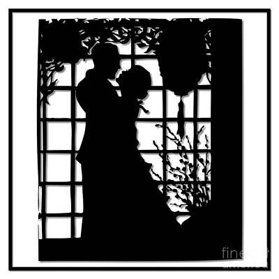 Scherenschnitte Digital Art - Couple In Love Silhouette by Rose Santuci-Sofranko