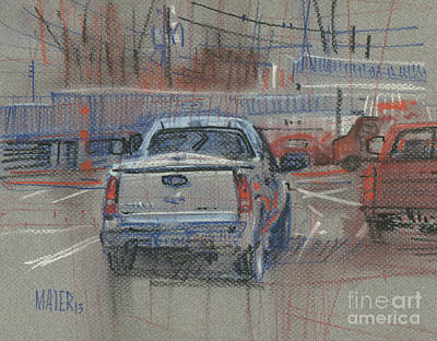 Truck Drawing - Couple Of Chevys by Donald Maier