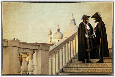Manipulation Photograph - Couple On Bridge During Carnival Venice by Darrell Gulin