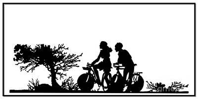 Scherenschnitte Digital Art - Couple Riding Bikes Silhouette by Rose Santuci-Sofranko