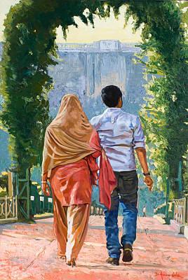 Couple Under The Leafy Arch Print by Dominique Amendola
