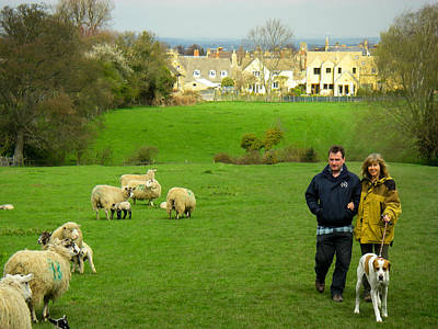 Couple With Dog On Cotswold Way Trail Through Green Pastures Near Broadway Village England Print by Robert Ford