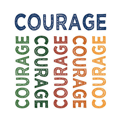 Courage Cute Colorful Print by Flo Karp