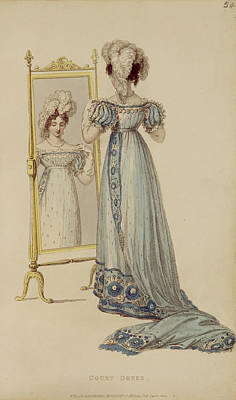 Ostrich Drawing - Court Dress, Fashion Plate by English School