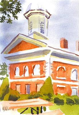 Cloudy Day Painting - Courthouse With Picnic Table by Kip DeVore