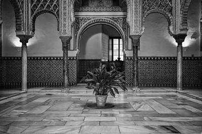 Courtyard Of The Dolls Bw Print by Joan Carroll