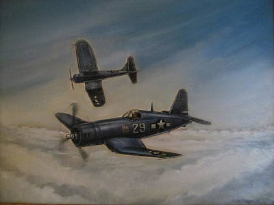 Corsair Fighter Painting - Cousair Airplane by John Bower