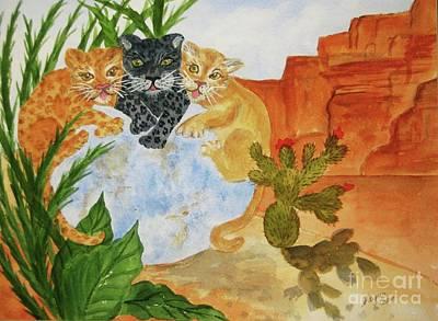 Animal Symbolism Painting - Cousins - Big Cats by Ellen Levinson