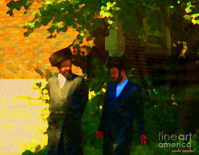 Outremont Painting - Covenant Conversation Two Men Of God Hasidic Community Montreal City Scene Rabbinical Art Carole Spa by Carole Spandau
