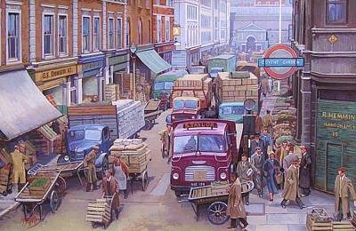 Old Trucks Painting - Covent Garden Market. by Mike  Jeffries