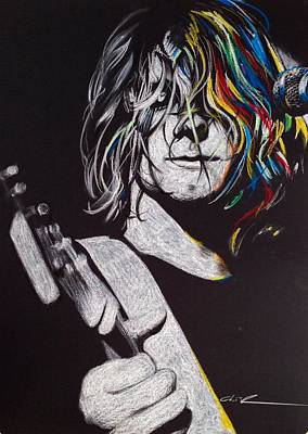 Kurt Cobain - ' Cover The Hair In Your Eyes ' Print by Christian Chapman Art
