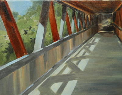 Covered Bridge At Roswell Mill Print by Jean Scanlin Wright