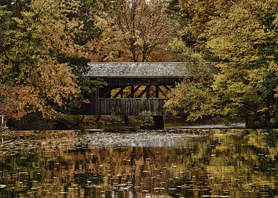 Covered Bridge At Sturbridge Village Print by Jeff Folger